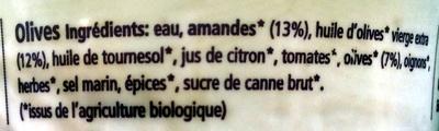 Crème Amandes Olives - Ingredients - fr