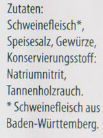 Schwarzwälder Bauchspeck - Inhaltsstoffe