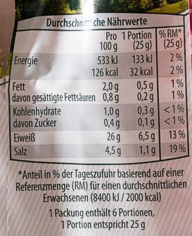 Edelschinken - Nutrition facts