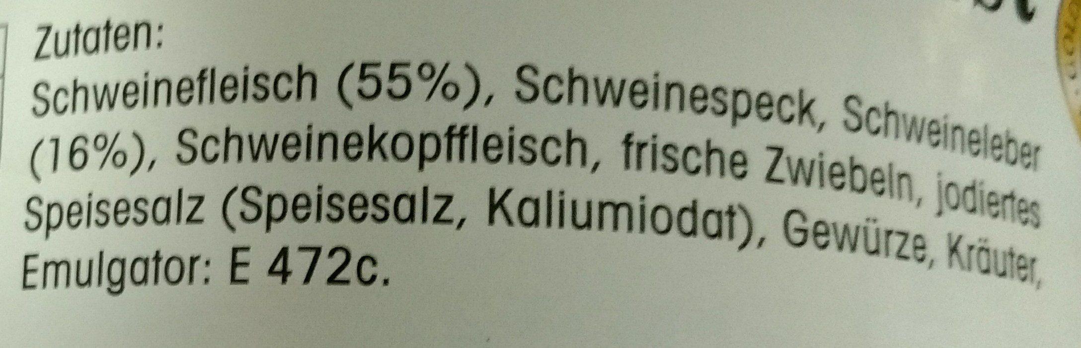 Hausmacher Leberwurst - Ingredients - de