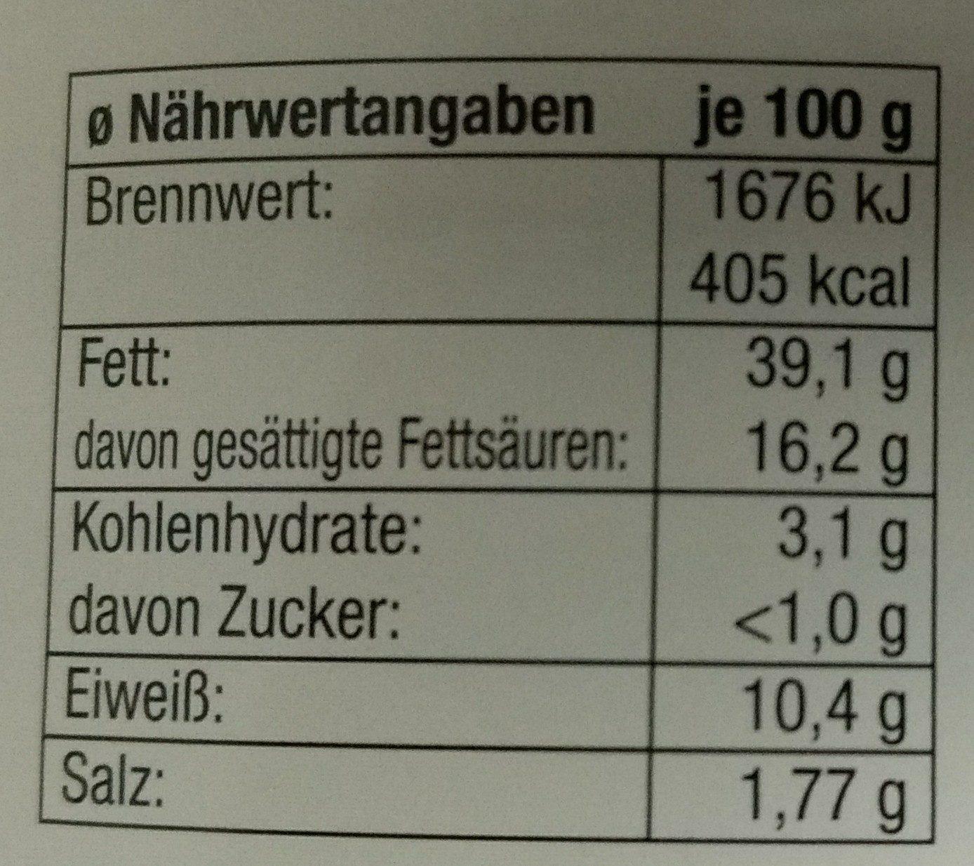 Hausmacher Leberwurst - Nutrition facts - de