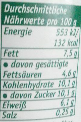 Kaffeeglück 7,5% Fett - Nährwertangaben