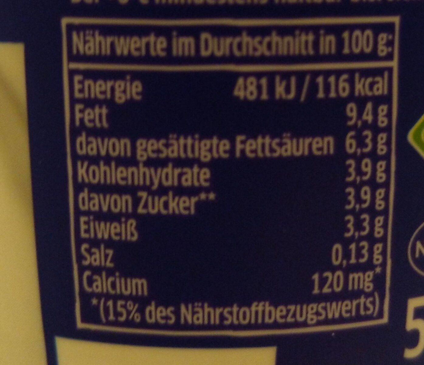 Elinas Griechischer Joghurt Natur, 500 g - Nährwertangaben - de