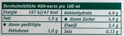Haltbare fettarme Milch - Nutrition facts