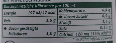 Haltbare fettarme Milch - Nährwertangaben - de