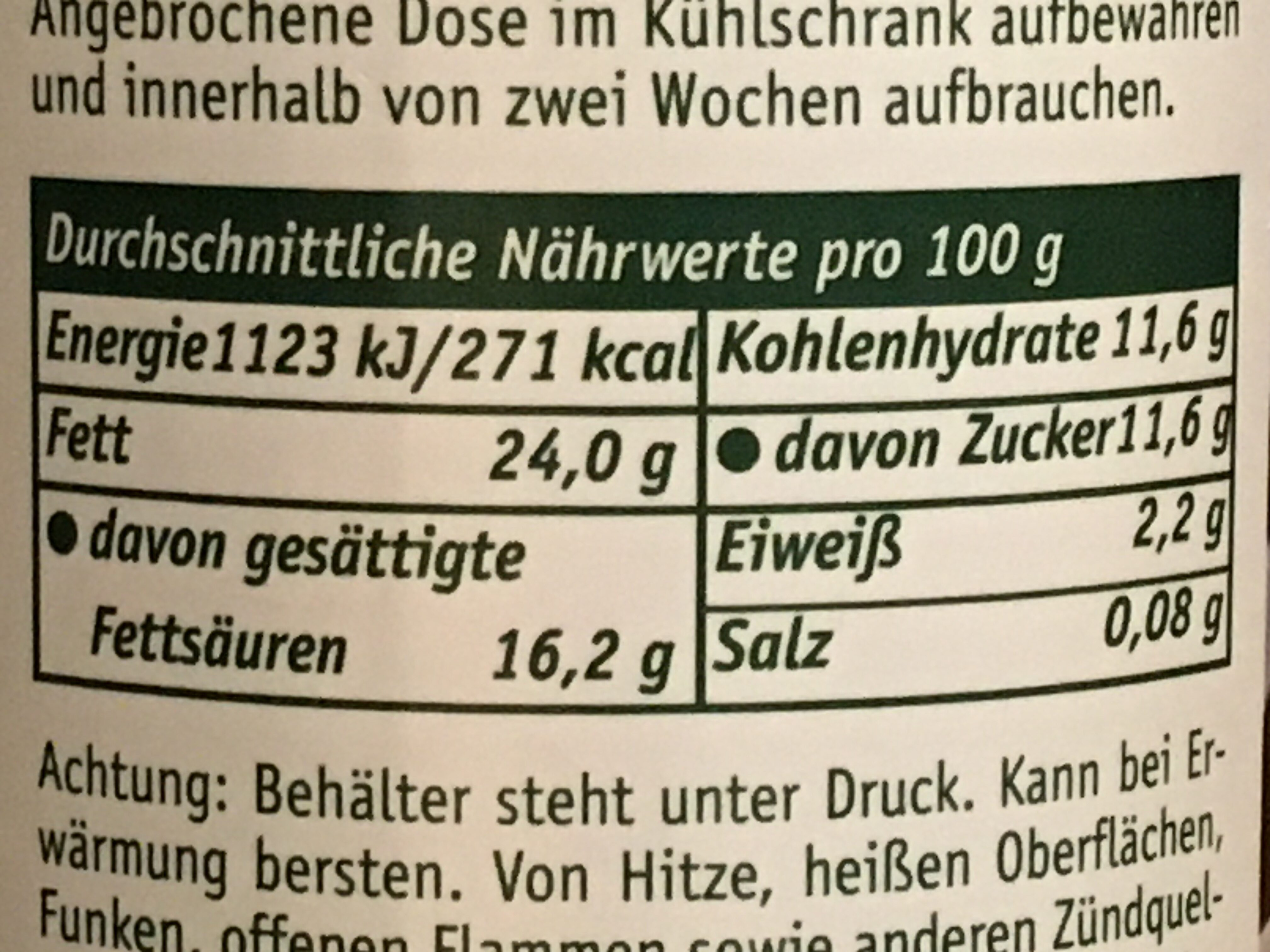 Sahnewunder Typ Vanille - Informations nutritionnelles