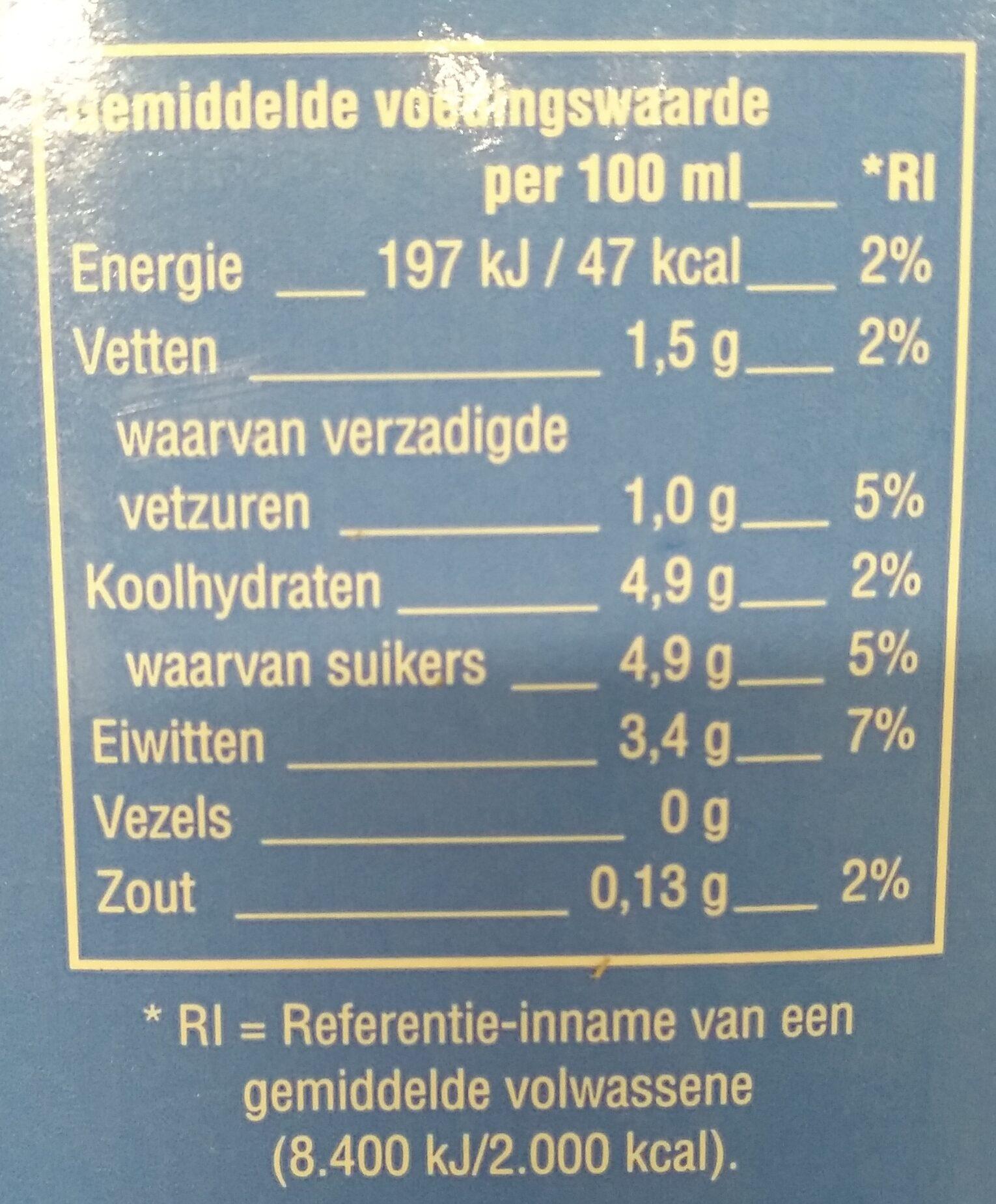 Houdbare halfvolle melk - Voedingswaarden - en