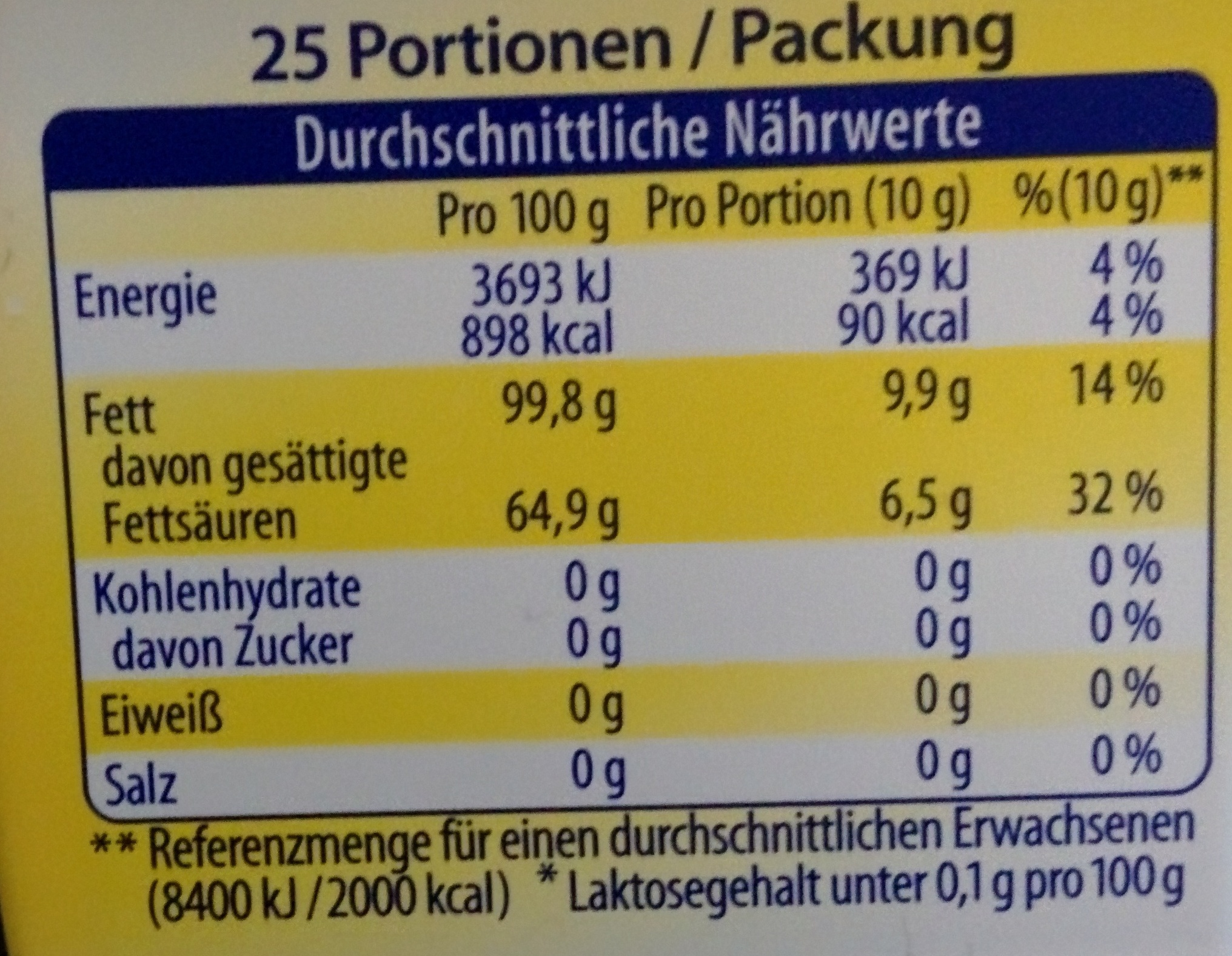 Butaris - Nutrition facts - de