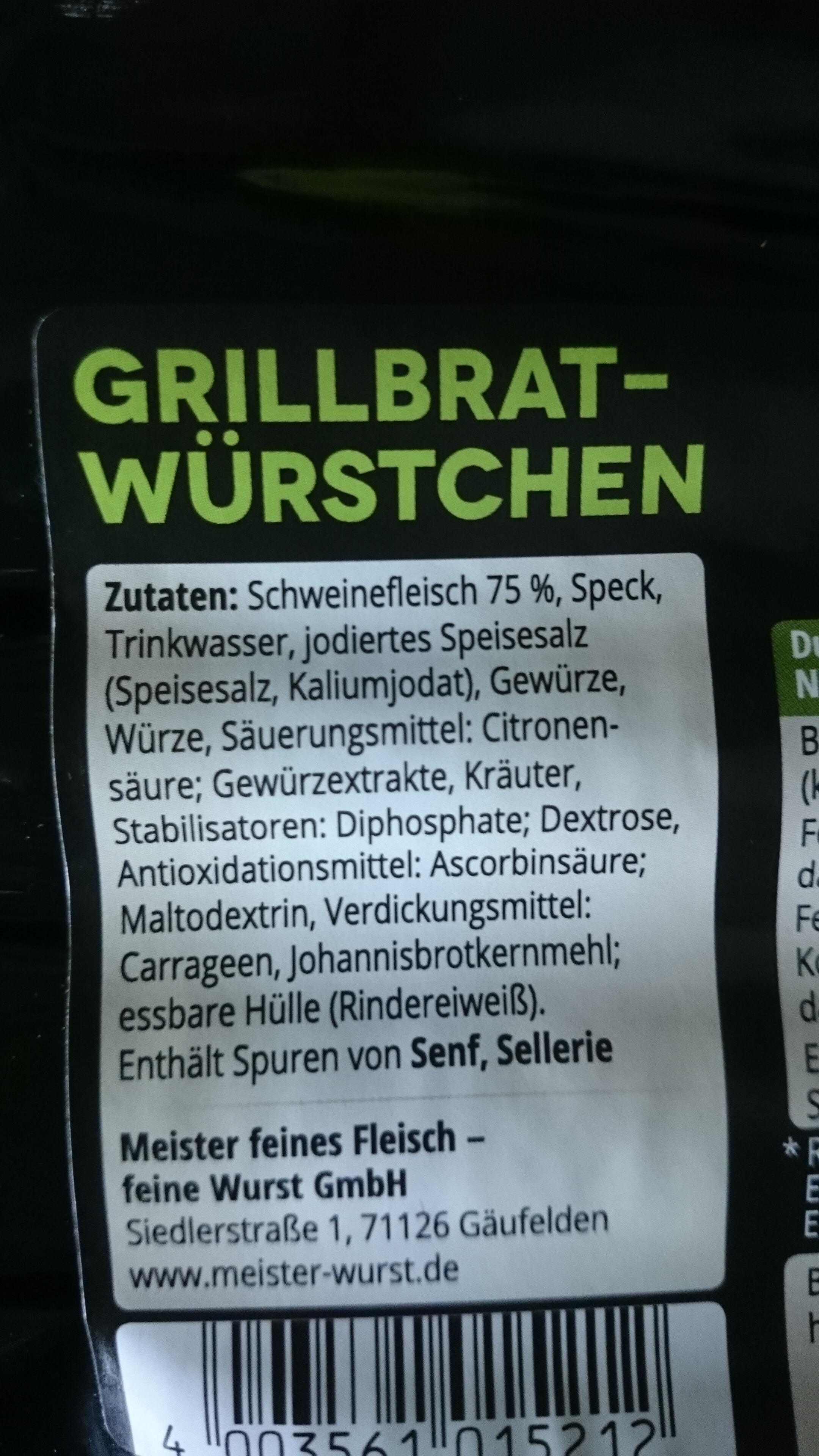 grillbratwürstchen - Inhaltsstoffe