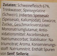 Vesperwurst - Inhaltsstoffe