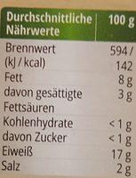 Vesperwurst - Nährwertangaben