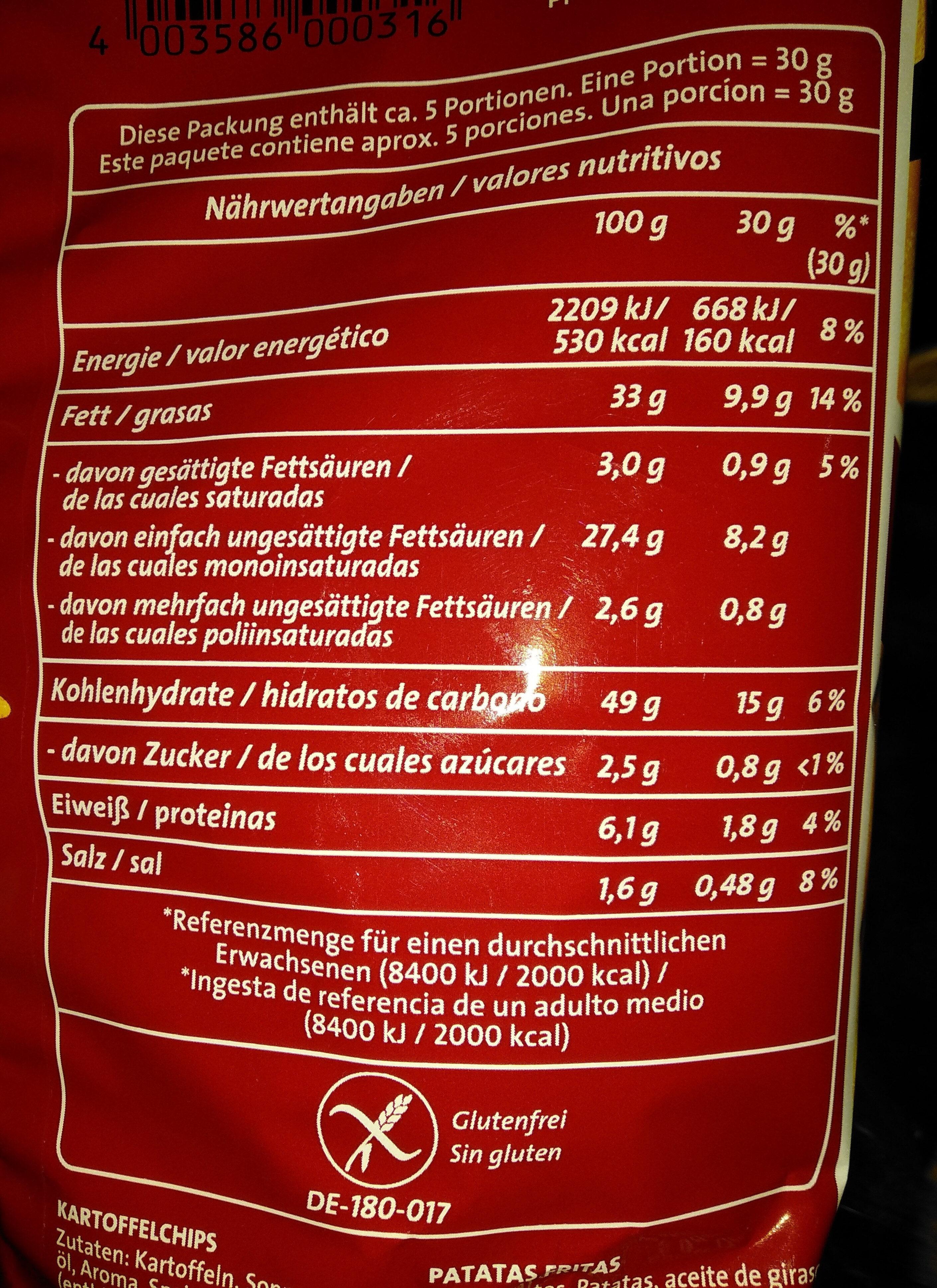 Chipsfrisch ungarisch - Voedigswaarden
