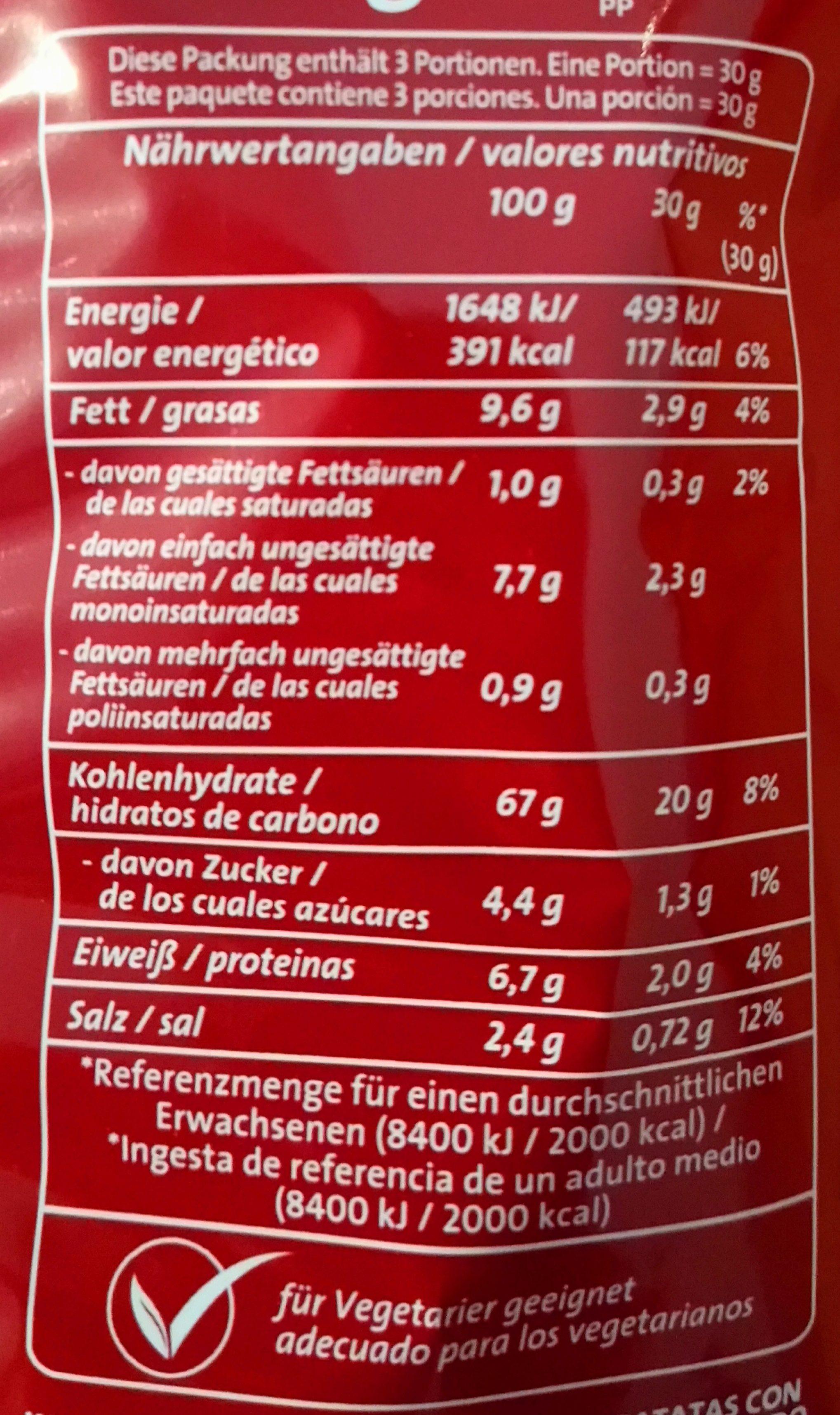 Chips Cracker (mit Meersalz) - Nährwertangaben - de