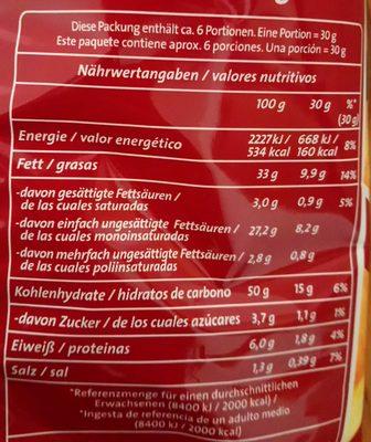Chipsfrisch - Nährwertangaben
