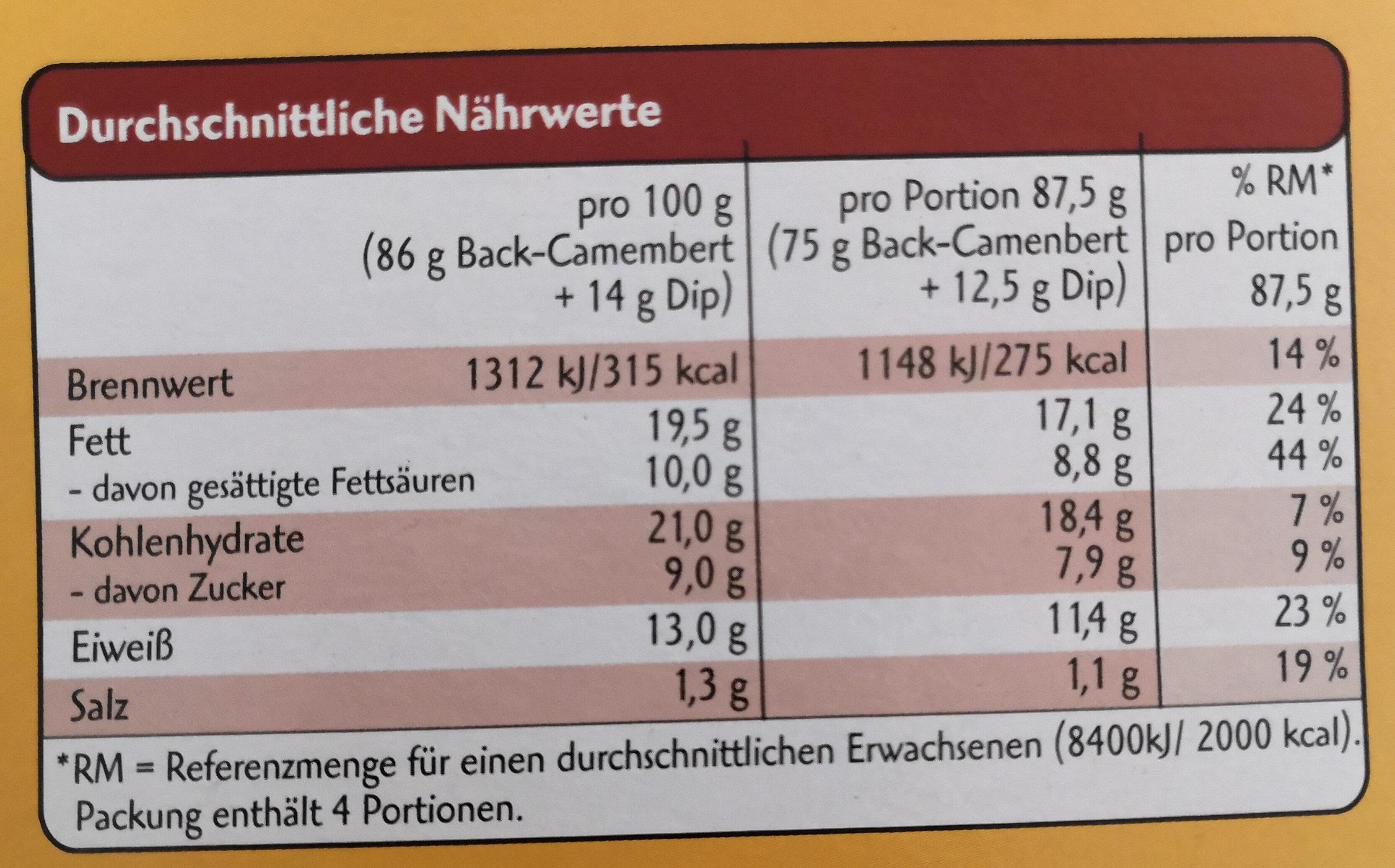 Back-Camembert - Informations nutritionnelles - de