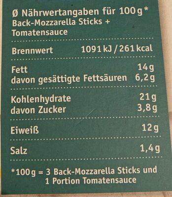 Mozzarella Sticks Mit Tomatensauce - Valori nutrizionali - de