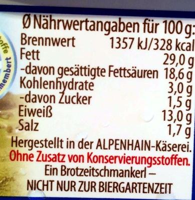 Obazda - Nutrition facts