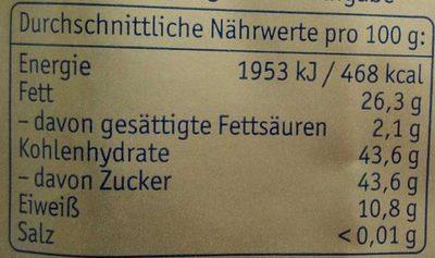 Lübecker Edelmarzipan-Kartoffeln - Nährwertangaben