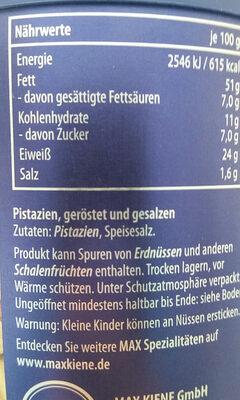 Premium Pistazien geröstet & gesalzen - Ingrédients - de