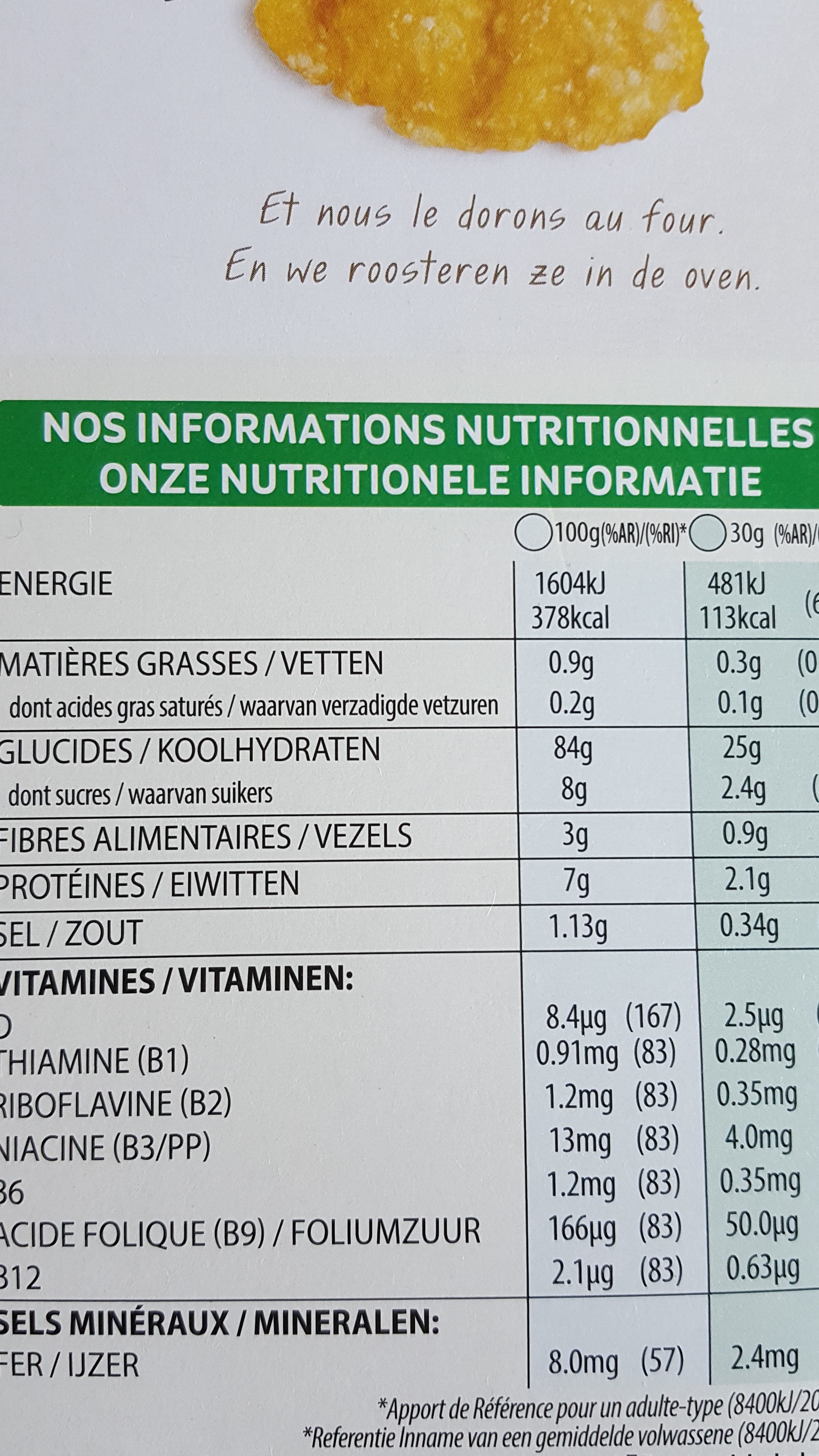 Corn Flakes 750 gr - Nutrition facts