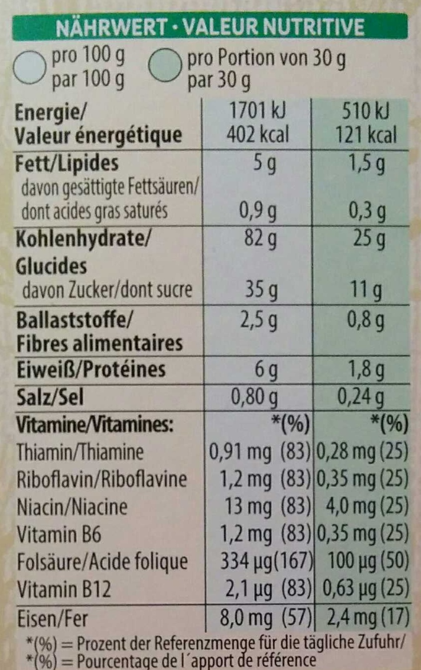 Crunchy Nut - Informations nutritionnelles - de