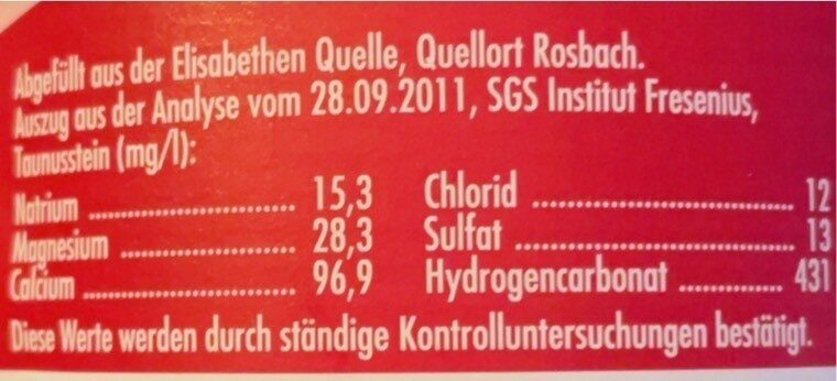 Mineral Wasser - Valori nutrizionali - fr