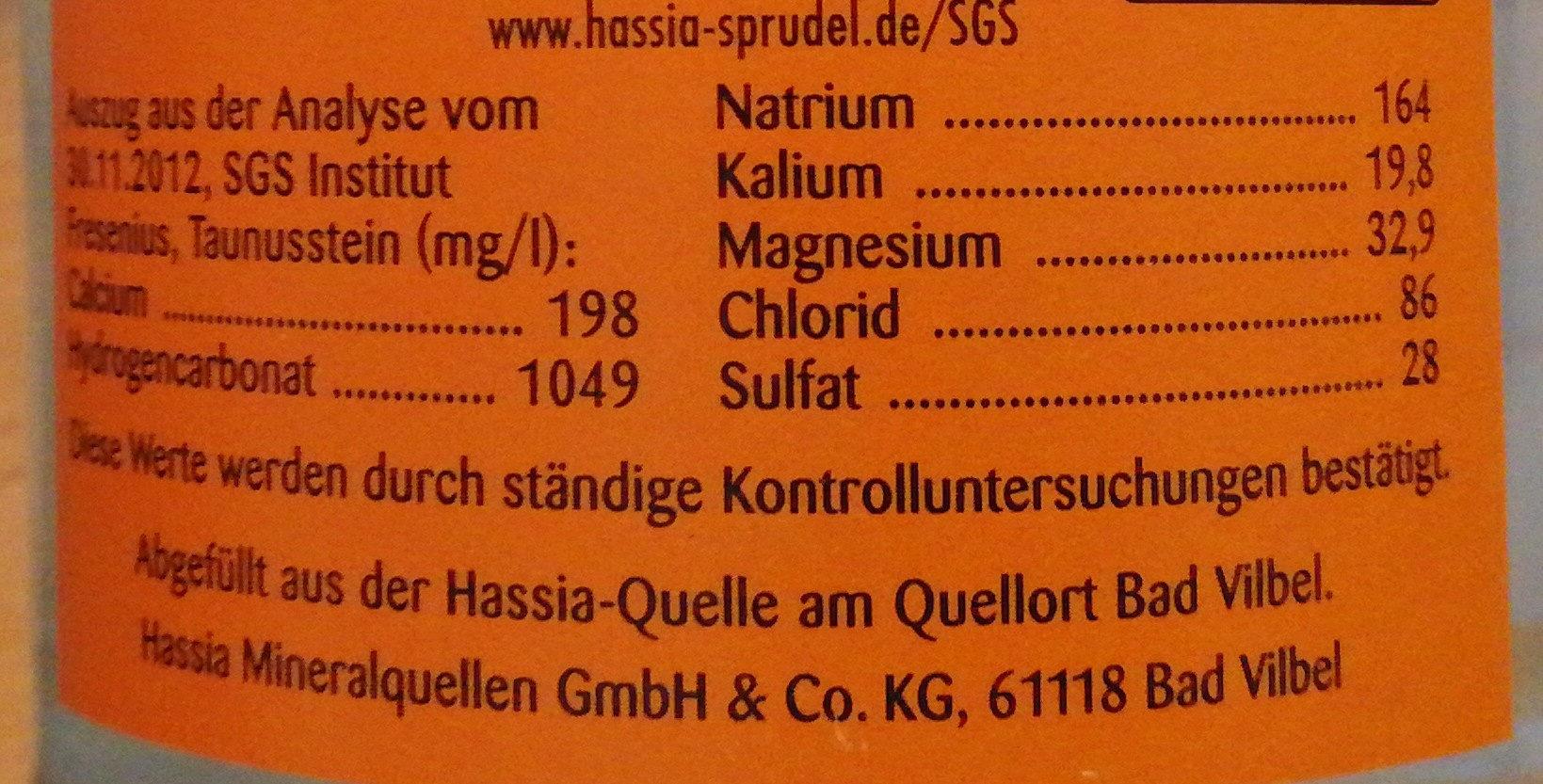 Hassia Sprudel - Informations nutritionnelles - de