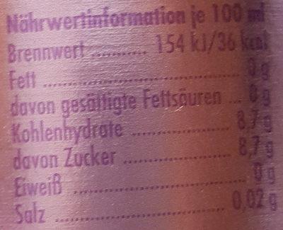 Premium Limonade Feine Johannisbeere - Nährwertangaben