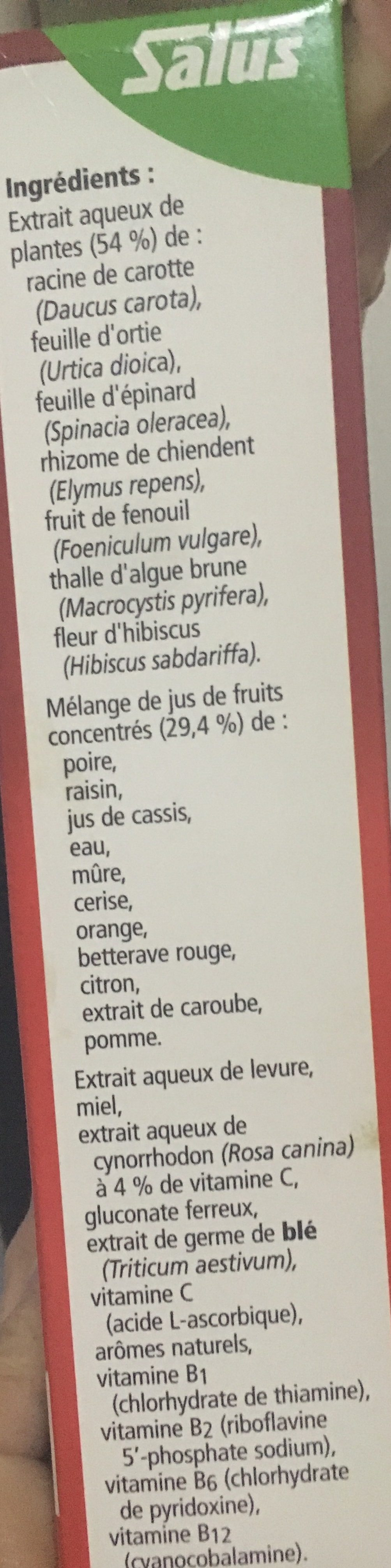 Floradix Fer + Plantes - 250 ML - Salus - Ingredients - fr
