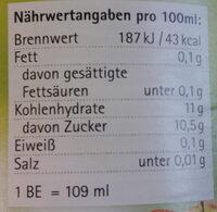 Naturtrüber Apfelsaft - Nutrition facts - de