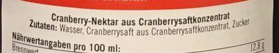 Cranberry Nektar - Inhaltsstoffe