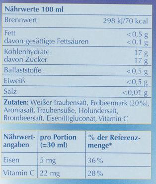 Eisen+ - Informations nutritionnelles
