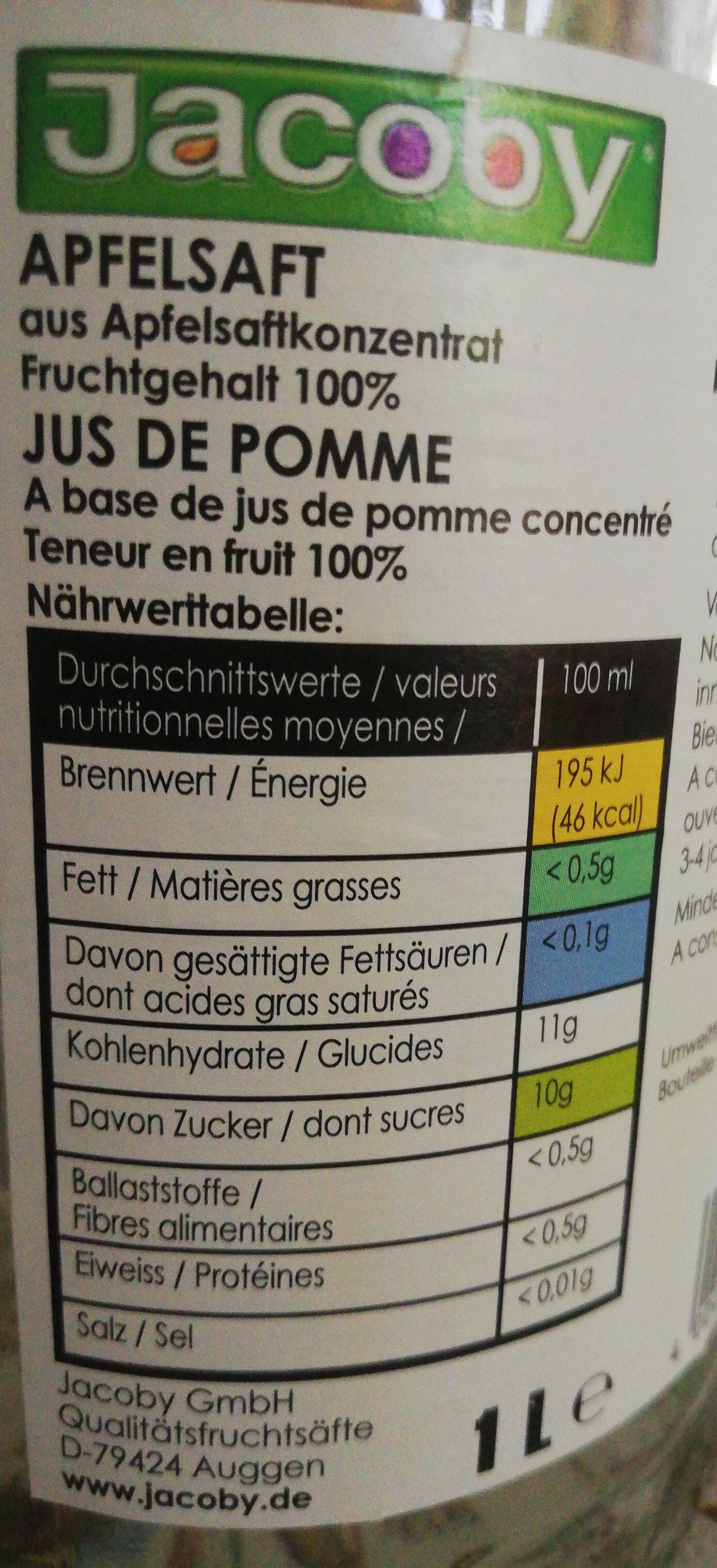 Jacoby Apfelsaft - Informations nutritionnelles - de