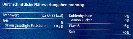 Biogarnelen natur - Nutrition facts - de