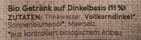 Bio Dinkel Drink - Inhaltsstoffe