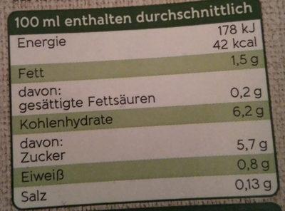 Bio Dinkel Drink - Nährwertangaben