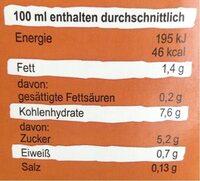 Bio Hafer Natur - Nutrition facts - de