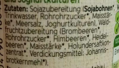 Bio Sojaghurt Waldfrucht - Inhaltsstoffe