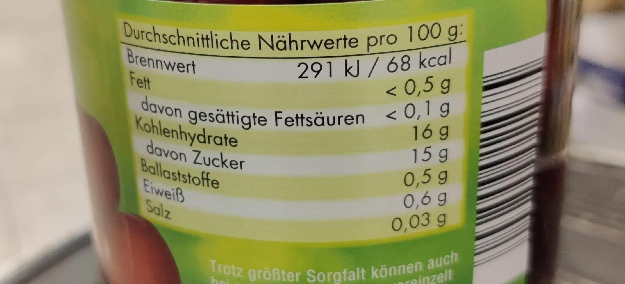 Reinhardswald Sauerkirschen - Voedingswaarden - de