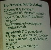 Tomatensauce Classico - Inhaltsstoffe