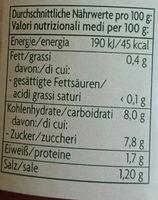 Tomatensauce Classico - Nährwertangaben
