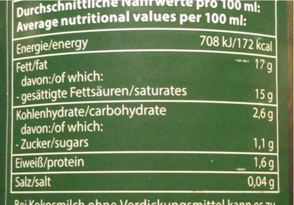 Bio Zentrale Kokosmilch - Nährwertangaben - de