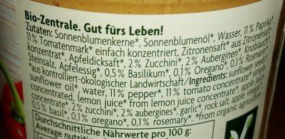 Brotaufstrich Mediteran, Paprika, Zucc... - Ingredients - de
