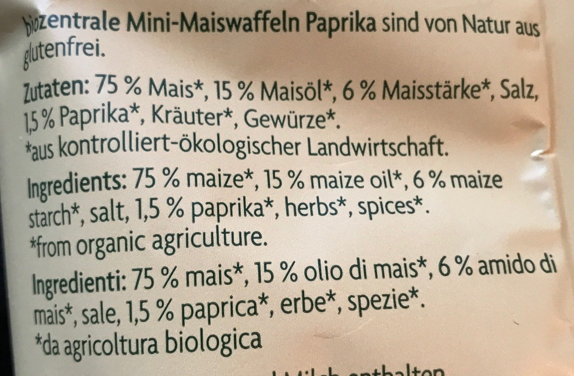 Mini Maiswaffeln Paprika - Ingrédients - fr