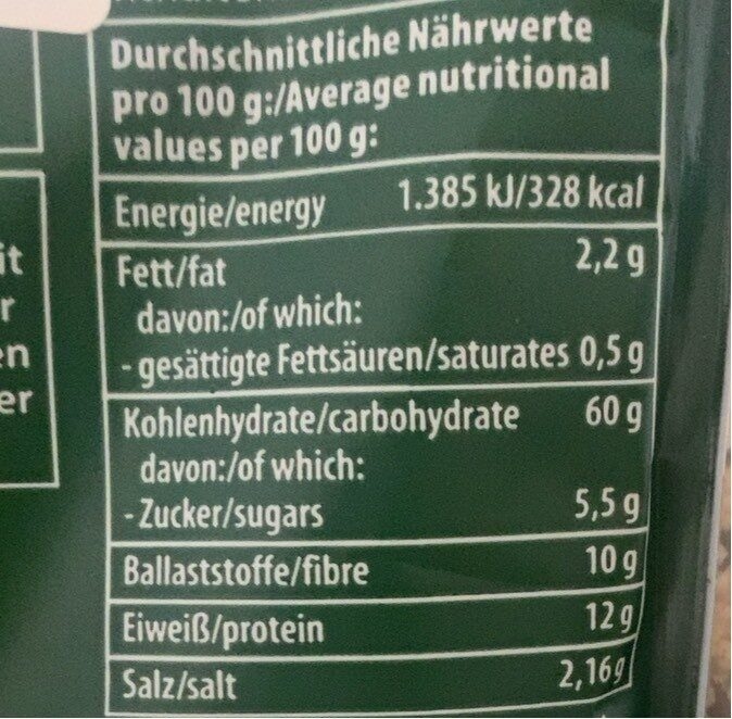 Taboulé - Nutrition facts - de