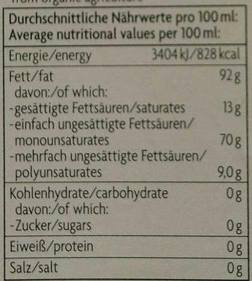 Natives Olivenöl extra - Nährwertangaben