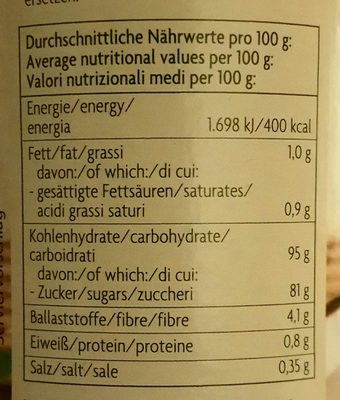 Bio Zentrale Kokosblütenzucker - Nährwertangaben