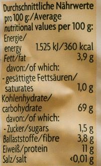 Hirse aus vollem Korn - Nährwertangaben