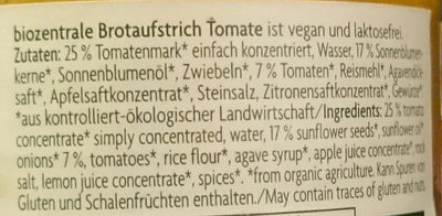 Brotaufstrich Tomate - Inhaltsstoffe