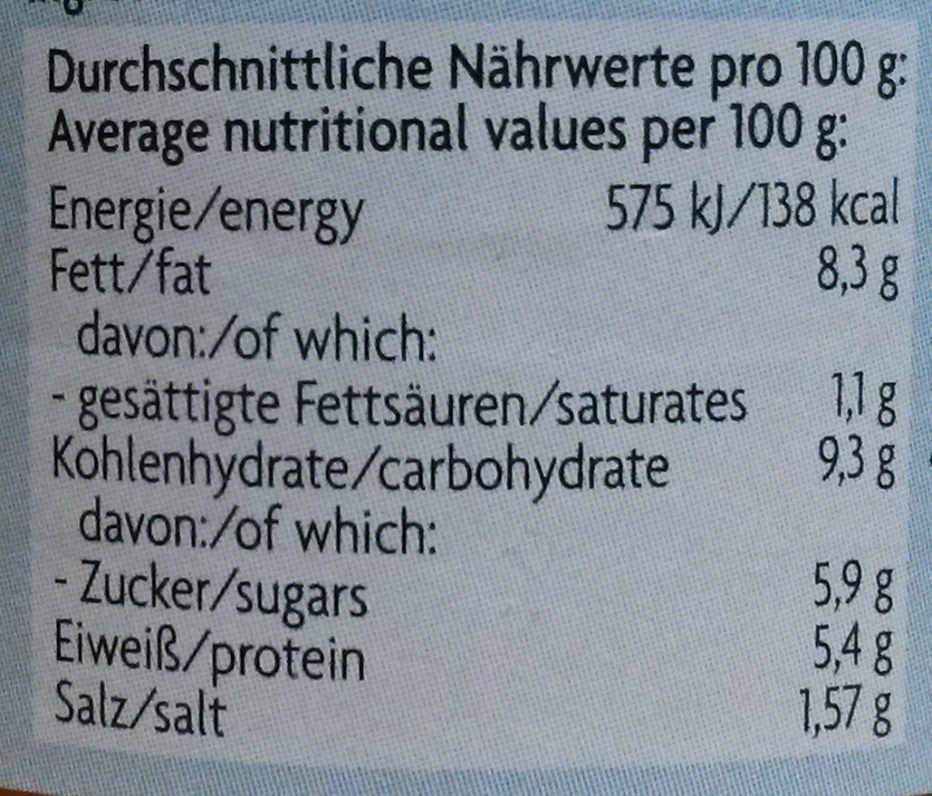 Aufstrich Joghurt Tomate - Nutrition facts